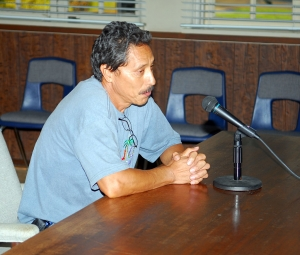 Al Huerta spoke at last night's school board meeting, in favor of public use of the new track and field.