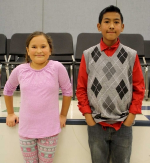 (l-r) Jordyn Garnica, Spelling Champion and Runner up Isaac Armenta.