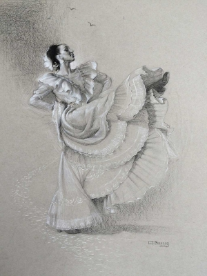 """Alegria"" by L.T. Bunning, charcoal on paper, 24 x 20 inches, Collection of the artist."