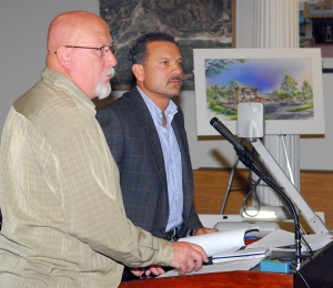 From left, Roger Campbell and Zahid Shah asked for, and received, council approval of Mr. Shah's development at E Street and Highway 126.