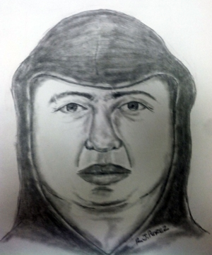 "The sexual assault suspect is described as a Hispanic male between 35-45 years old. He's clean shaven and was wearing a dark-colored hooded sweatshirt and faded blue jeans. He's further described as having a round face with ""chubby cheeks,"" and discolored teeth. The attached forensic sketch is a depiction of the suspect's appearance."
