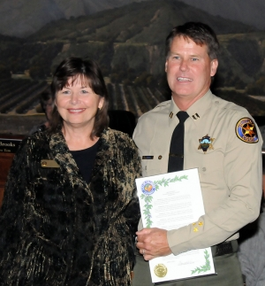 Outgoing Capt. Tim Hagel was presented with a Proclamation from Mayor Gayle Washburn at last night's city council meeting. Capt. Hagel served the community of Fillmore for three years and will transferring to Thousand Oaks.