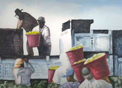 """Farmworkers Loading Pears"" by Michael Torres, watercolor on paper, 16"" x 20"", Collection of the artist."