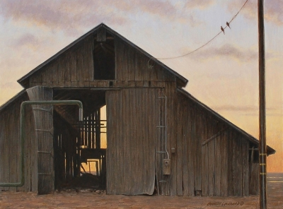 """Quitting Time"" by George Lockwood, acrylic on board, 16.5"" x 19.5"", Collection of the artist."