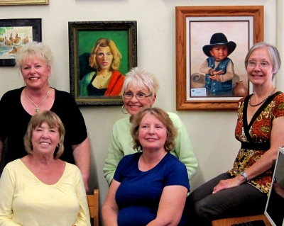 After putting up the Guild's paintings: (front row) Karen Browdy, Virginia Neuman and (back row) Luanne Perez, Judy Dressler, and Jan Faulkner.