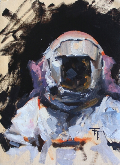 """Astronaut Study #2"" by Thadius Taylor (Ventura College), oil on canvas paper, Collection of the artist."