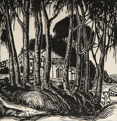 """Corner, Morro Bay"" by Jessie Arms Botke, no date, block print,10"" x 9"",Collection of Jyl and Allan Atmore."