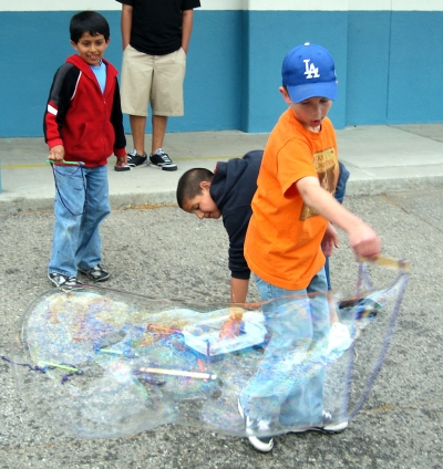 John Chavez and Luke Myers experimenting with bubbles.