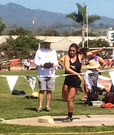 Kayla Grove throwing shot put, placing 7th in D4