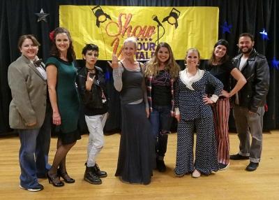 FMS  Teacher performers, Ms. Beal, Mrs. Bortins, Mrs. Barajas, Mrs. Gadbois, Ms. Musgrove, Mrs. Emhoff, Mrs. Casanave and Mr. Geddes.