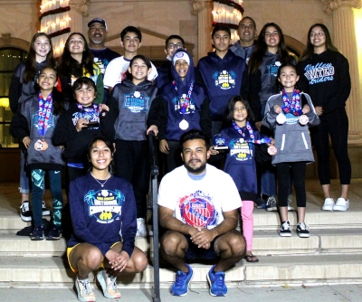 The Fillmore Condors Youth Cross Country Team which competed at the AAU Youth Cross Country Nationals in Florida on Saturday, December 5th. Top row, left to right: Leah Barragan, Yarely Herrera, Coach Felix Zuniga, Noah Flores, Diego Felix, Diego Rodriguez, Coach Phil Ramirez, Lindsey Ramirez, Yarably Herrera. Middle row, left to right: Lucy Zuniga, Natalia Retana, Santiago Felix, Abel Arana, Itzel Arana. Bottom row, left to Right: Coaches Andrea Mendez and Gerardo Flores. Photos courtesy Fillmore Condors XC President Erika Arana.