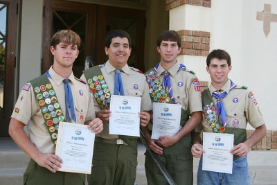 "Pictured above (l-r) Eagle Scouts Brian Mckeown, Daniel Landeros, Michael and David Watson. The boys received ""Be the Change"" honors for their campus improvements throughout the school district."