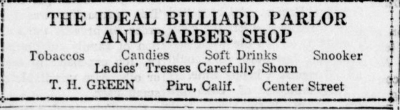 Ideal Billiard and Barbershop Ad from April 24, 1930.
