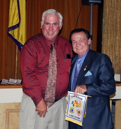 Shown above are Fillmore Lions President, Bill Edmunds and keynote speaker, Ted Fusco, Past International Director.
