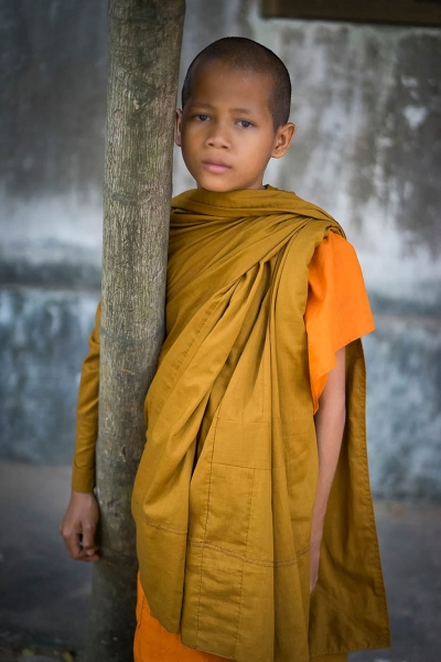 Buddhist Boy, Cambodia. By Photographer Maureen Clark.