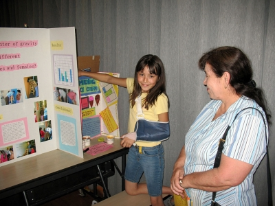 Piru student Maria Ibarra is shown with her science project at Piru Elementary's Science Fair last week.