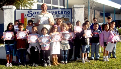 More Peacebuilders receive January certificates at San Cayetano Elementary.