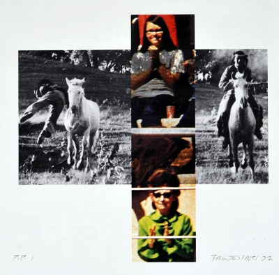 Person on Horse and Person Falling From Horse(With Audience),2002, print by John Baldessari. From the Collection of John and Sylvia White.  Art photographed by Bill Dewey.