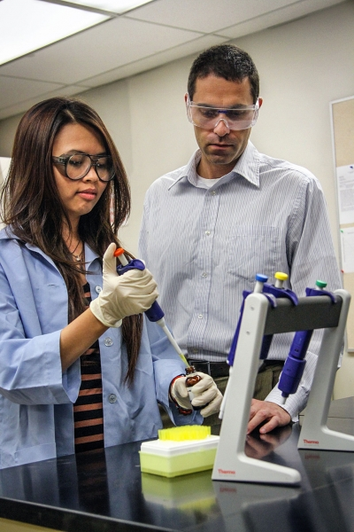 Huong Nguyen worked under the mentorship of chemistry professor Grady Hanrahan to develop a model to assess pesticide exposure in low-income communities, a project she will present at the Festival of Scholars. Credit: Brian Stethem/CLU