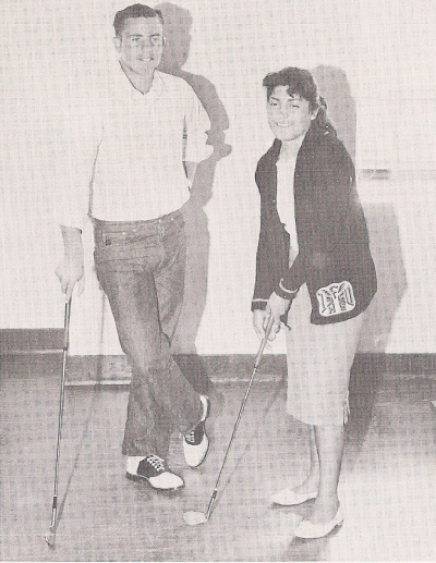 Julie Preciado and Elden Collins, awarded Best Girl and Boy Athlete, 1960.