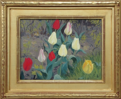 """Tulips"" by Jessie Arms Botke, oil on board, 12"" x 16""."