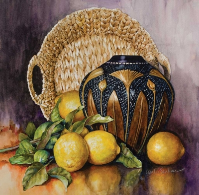 """Lemons and Gingko"" by Gail Faulkner, watercolor, 24"" x 24"", Collection of the Artist."