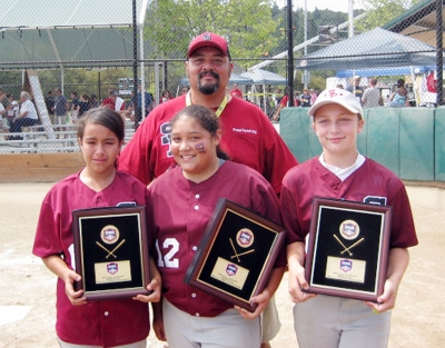 Bottom from left to right: Mary Munoz, Anissa Hernandez and Cece Flinn. Top - Coach: Carlos Hernandez.