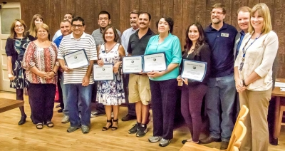 At Tuesday night's School Board meeting, Fillmore Unified recognized Rio Vista's District Staff as heros for taking action during a flood that occurred at Rio Vista Elementary School. Photo by Bob Crum.