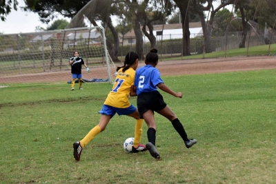 Battle – California United player Jadon Rodriguez leans in to the defender as she fights her way towards the goal.