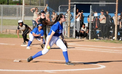 Flashes J.V. Pitcher April Lizaraga made her debut on the mound at last Thursday's game against Golden Valley High School. Flashes J.V. beat Golden Valley 11-9.