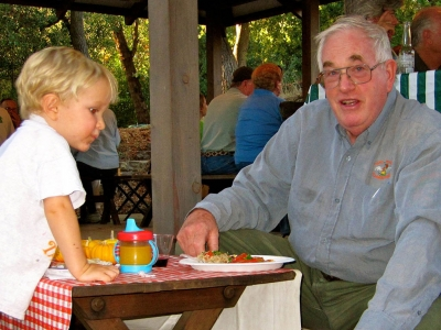 Oliver Ayala (Grandson) and Tony Thacher, Pixie Growers Picnic 2009. Photo courtesy of Thacher Family Archive.