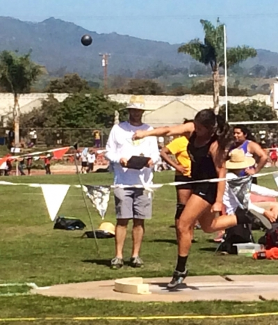 Senior Kayla Grove, 1st place in her flight throwing 35'6