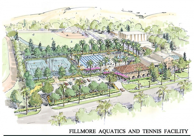 An artists rendering of the Fillmore Aquatics & Tennis Facility.