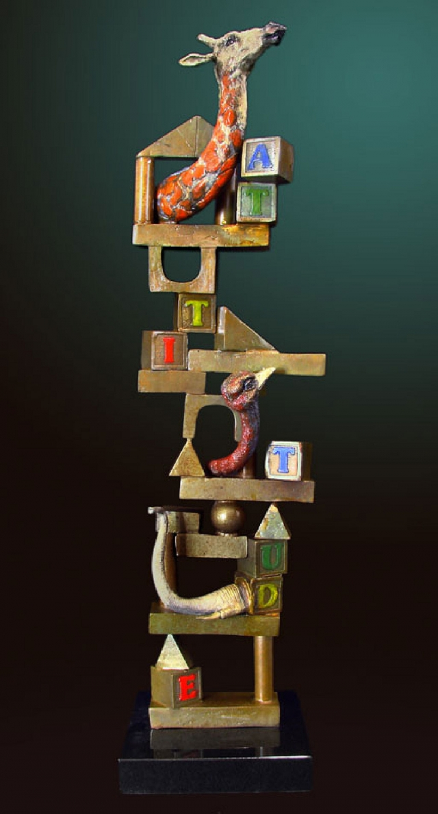 """Building Blocks,"" a painted bronze sculpture by Glen Tarnowski."