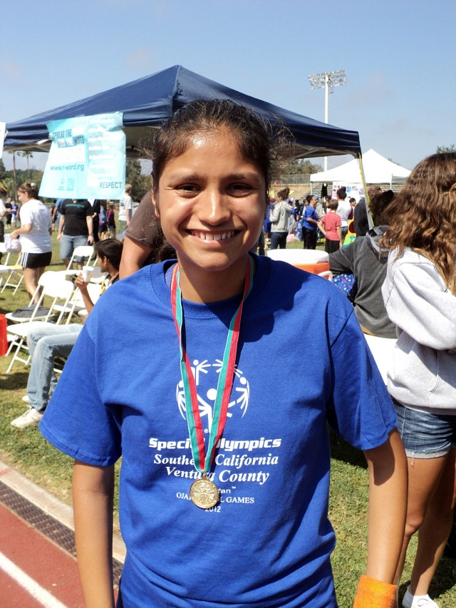 On June 9 & 10th at Long Beach University, the 2012 Special Olympics Summer Games were held. (Above) Anna Maldonado, 18 of Fillmore, participated in the event. Maldonado brought home three gold medals (1500 M Run, 800 M Run, and Long Jump). In May, Maldanado participated in three other events, held in La Crecenta, Agoura, and William S. Hart, bringing home three gold medals in each heat.