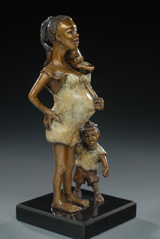 """Answering the Door"" bronze by Susan R. Kaufman."