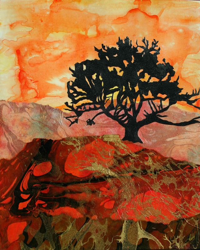 """Happy Tree"" Mixed Media by Lady Jan Faulkner"