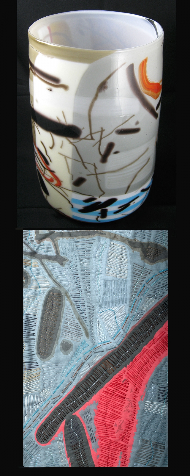 Glass art vase and photographed abstract design on digital print. Both works by Pamela Price Klebaum