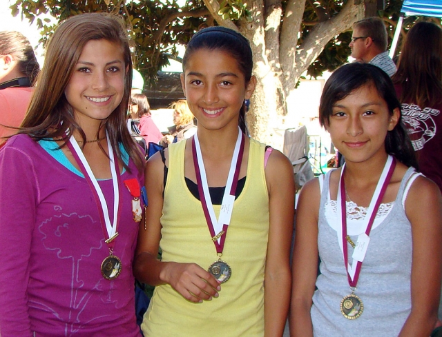 On Saturday May 22nd Kiana Hope, Nayeli Baez, and Irma Torres participated in the Ventura County Youth Track, Varsity Finals in Moorpark, winning medals at the Varsity Track finals. In order to participate at Varsity Finals you must qualify during the regular track season. All three girls run long distance, and are coached in Fillmore by Temo Laureano. In the Youth Division Kiana Hope placed 1st in the 3200 meter run and 2nd in the 1600 meter run. Nayeli Baez placed 3rd in the 3200 meter run. Irma Torres placed 1st in the 3200 meter run for her division, and also ran the 1600 meter run. Since the three girls did so well at Varsity Finals, they have qualified to run at the Conference Finals on June 5th in Carpinteria. Good job girls!