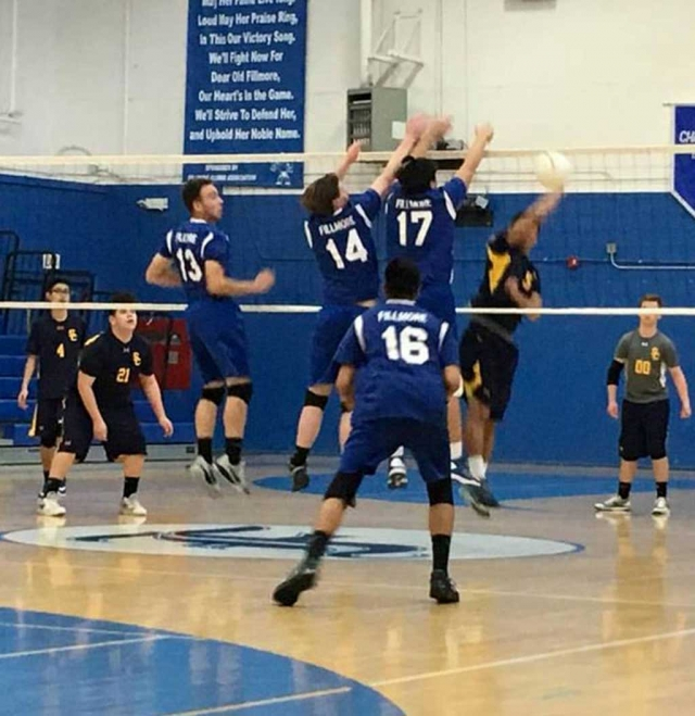 Flashes Boys Volleyball jump up to block Channel Islands ball at the net at last Thursday's game. Fillmore lost to Channel Islands 3-0. Fillmore's next match will be away at Carpinteria High School on Tuesday March 14th, J.V. 5:00pm and Varsity 6:00pm.
