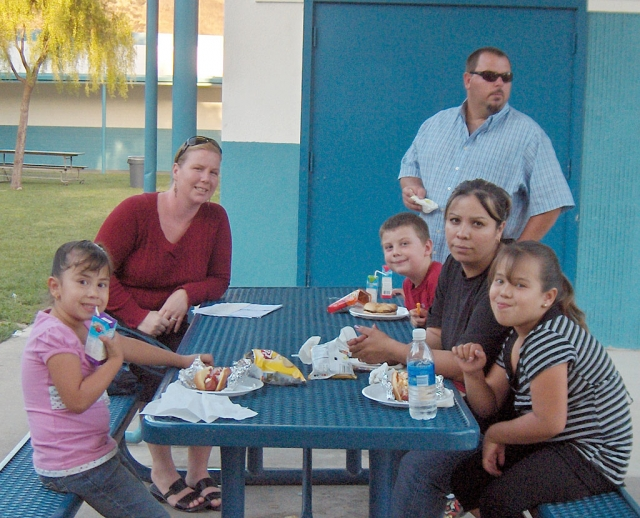 Families enjoyed dinner at Back to School Night.