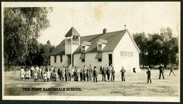 The First Bardsdale School. The contract for construction of the school was given to Mr. O.J. Goodenough who was to build and furnish the school for $1,397. Photos Courtesy Fillmore Historical Museum.