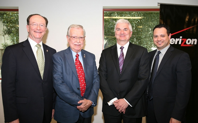 (l-r) President Richard R. Rush, Hank Lacayo, Tim McCallion, President of the West Region for Verizon and Jesus Torres, Director of Strategic Programs for Verizon.