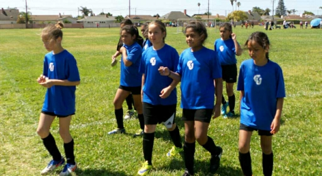 California United 11-U Girls getting ready to take the field at this past Saturday's game against Oxnard.