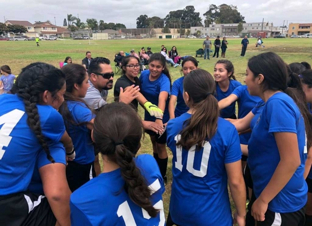 Coach Nico Jaimes and the California United U-14-Girls get a break after their exciting game against VC Galaxy FC earning them a spot in the Championship game. GO California United!