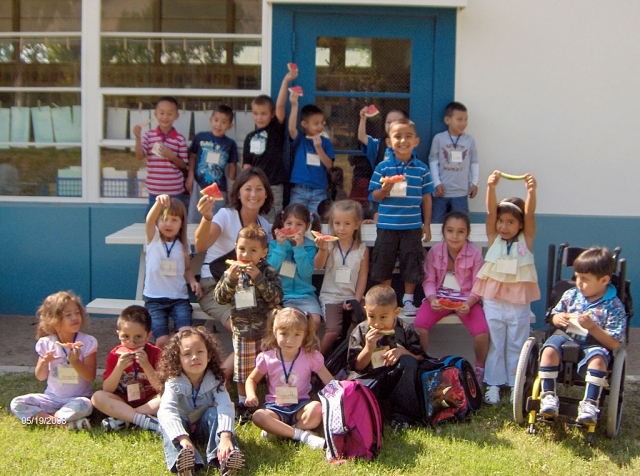 After finishing their first week of Kindergarten at San Cayetano Elementary Mrs. Capra's class enjoyed a cool treat of watermelon to go along with their first week certificates in the kindergarten backyard.