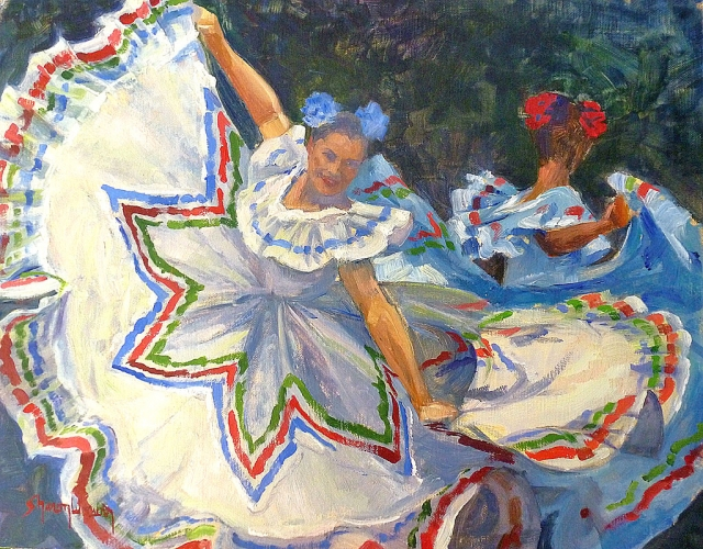 "Cinco de Mayo by Sharon Weaver, oil on linen, 16"" x 19"" (Collection of the artist)"