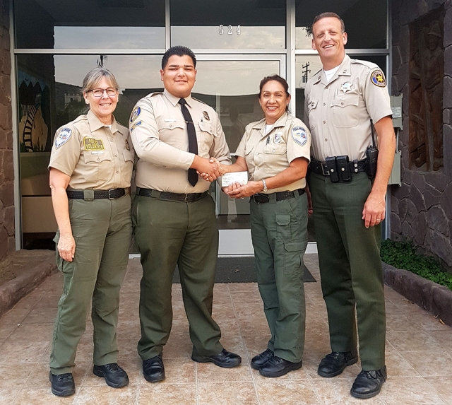 On Thursday, August 9, 2018 Fillmore Citizen Patrol awarded 3 scholarships totaling $3,000 to Explorer Angel Mejia. Angel plans are to attend California State University Channel Islands, work part-time, and continue with Fillmore's Explorer Post #2958. Congratulations Angel! Pictured are: Lisa Hammond, Angel Mejia, Annette Fox, Captain Eric Tennessen. Courtesy of Lisa Hammond and Lidia Arredondo.