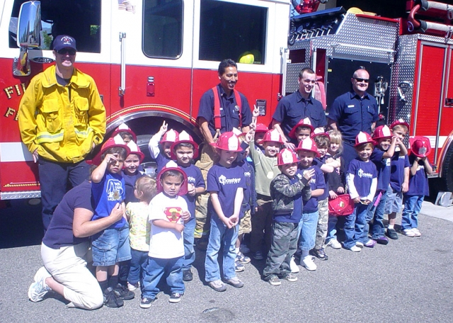 Sonshine Preschool students made a trip to the Fillmore Fire station last week. They got to climb the fireman's pole and squirt the hose, all while wearing shiny fireman's hats. Here the kids are in front of the fire engine. The class was led by Mrs. Kemp, Ms. Kemp and Mrs. Nunes.