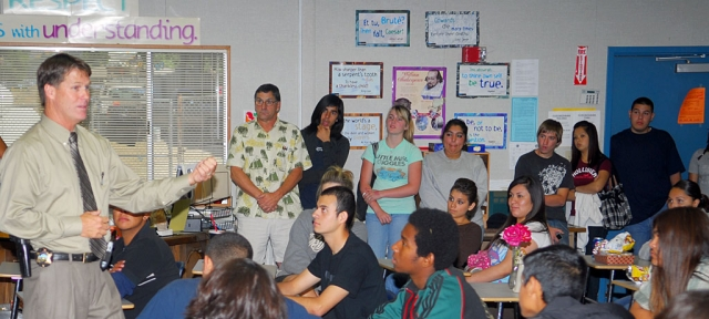 On Tuesday June 10, Fillmore Police Cheif Tim Hagel spoke to students at Fillmore Community High School. Chief Hagel's charismatic and down-to-earth friendly approach with students was obvious as many students approached him after he fi nished speaking.